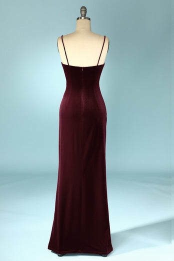 Burgundy Velvet Evening Prom Dress