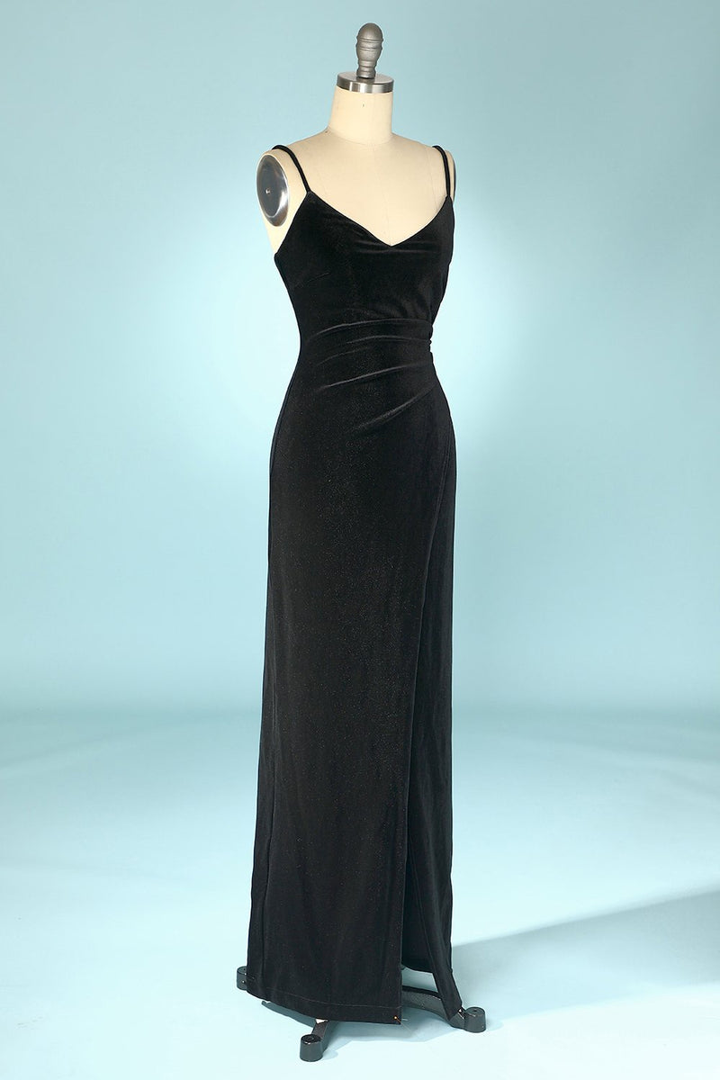 Load image into Gallery viewer, Black Velvet Evening Party Dress