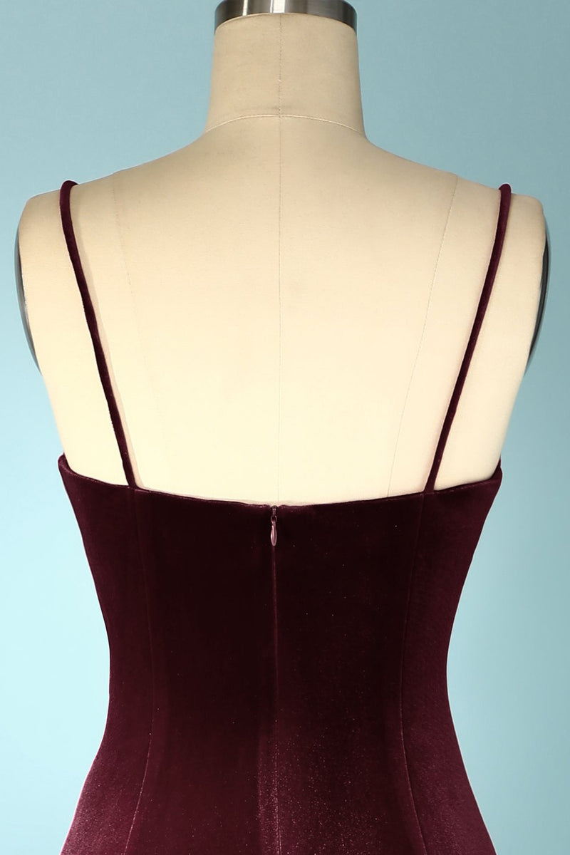 Load image into Gallery viewer, Burgundy Velvet Evening Prom Dress
