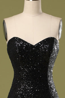 Long Black Sequins Formal Dress