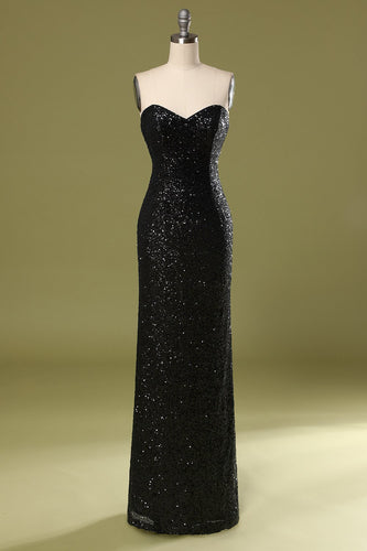 Long Black Sequins Holiday Dress