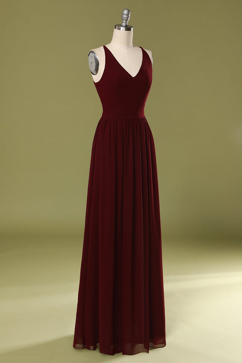 Load image into Gallery viewer, Simple Solid Long Bridesmaid Dress