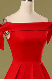 Red Off the Shoulder Party Dress