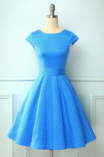 1950s Polka Dots Blue Swing Dress