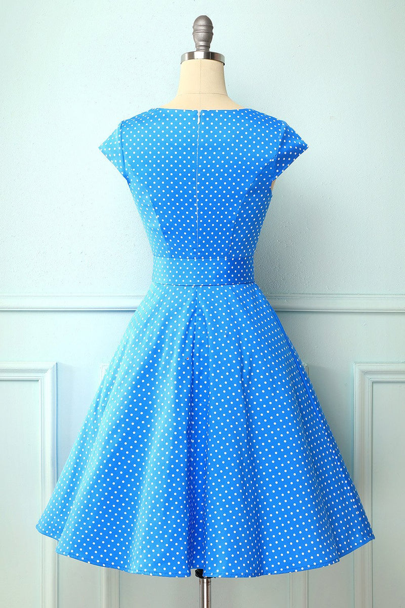 Load image into Gallery viewer, 1950s Polka Dots Blue Swing Dress