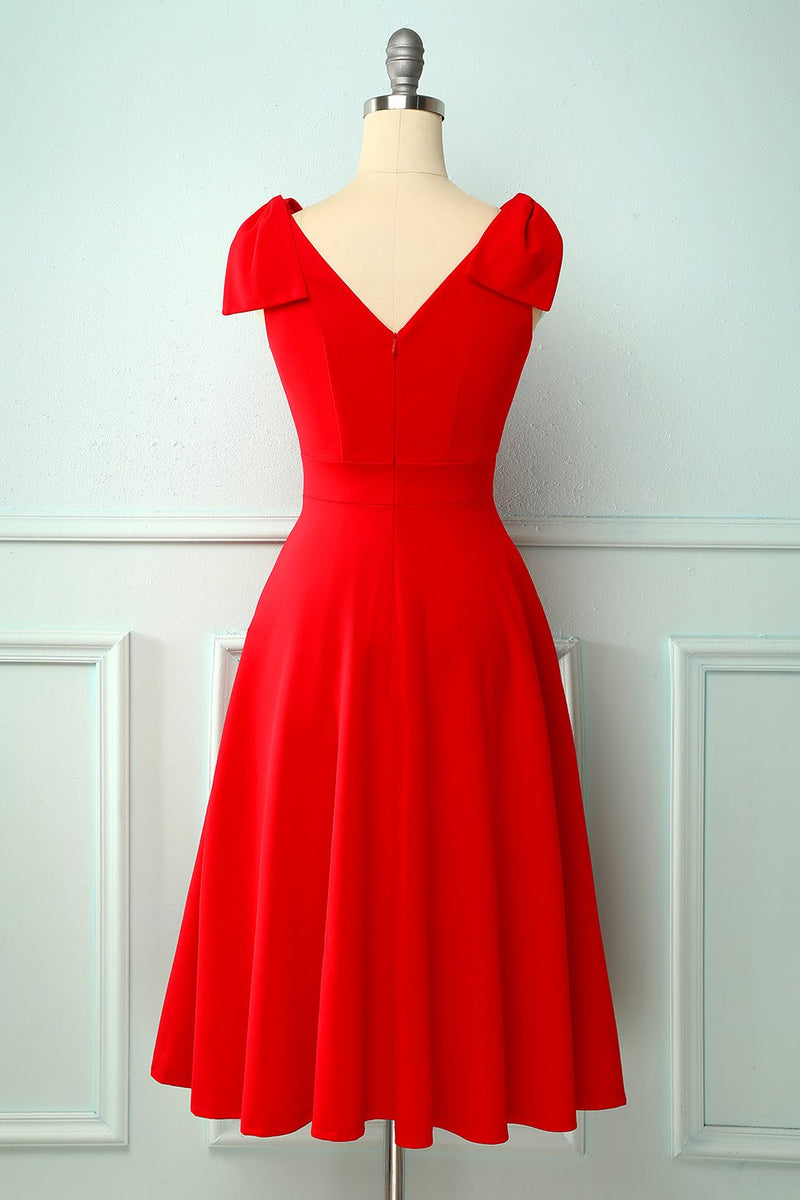 Load image into Gallery viewer, Vintage Red Dress With A Red Bow Pockets