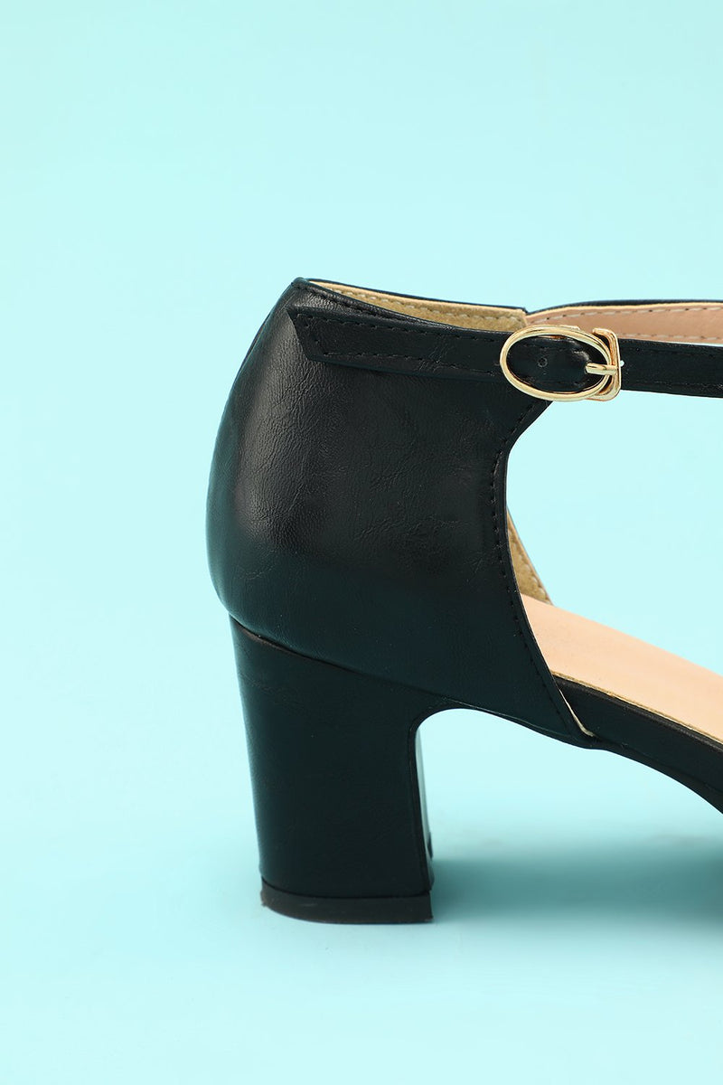 Load image into Gallery viewer, Leather Black Chunky Heels