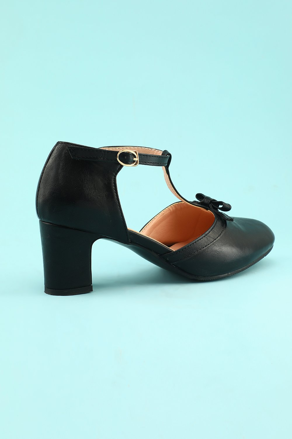 Leather Black Chunky Heels