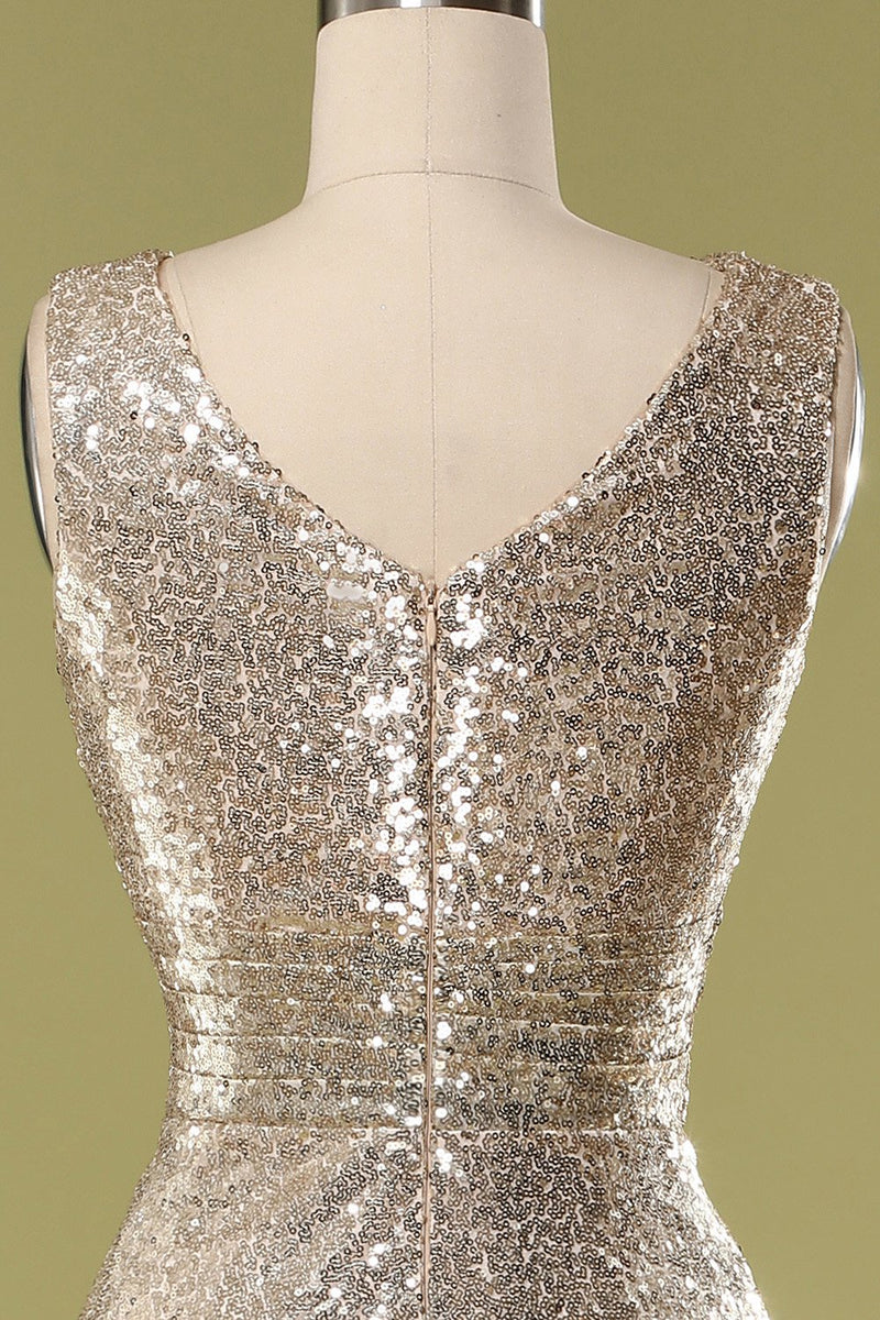 Load image into Gallery viewer, Gold V Neck Sequin Prom Bridesmaid
