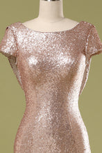 Load image into Gallery viewer, Sequins Pink Prom Dress