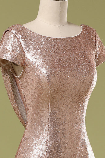 Sequins Pink Prom Dress