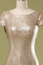 Load image into Gallery viewer, Sequins Gold Prom Dress