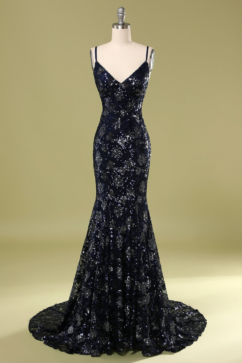 Navy Evening Dress with Beading & Sequins
