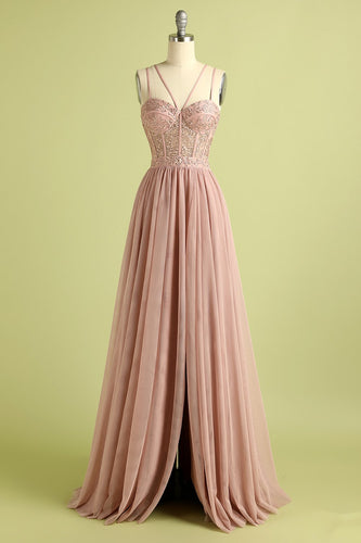 Pink Split Front Spaghetti Straps Prom Dress