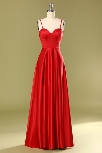 Spaghetti Straps Red Prom Dress