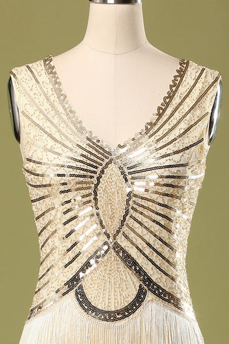 Gold Sequin Glitter Fringe 1920s Dress