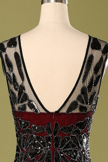Red and Black 1920s Sequined Flapper Dress