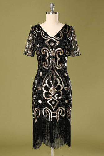 1920s Black Sequins Flapper Dress