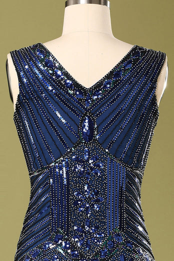 Vintage 1920s Blue Sequins Flapper Dress