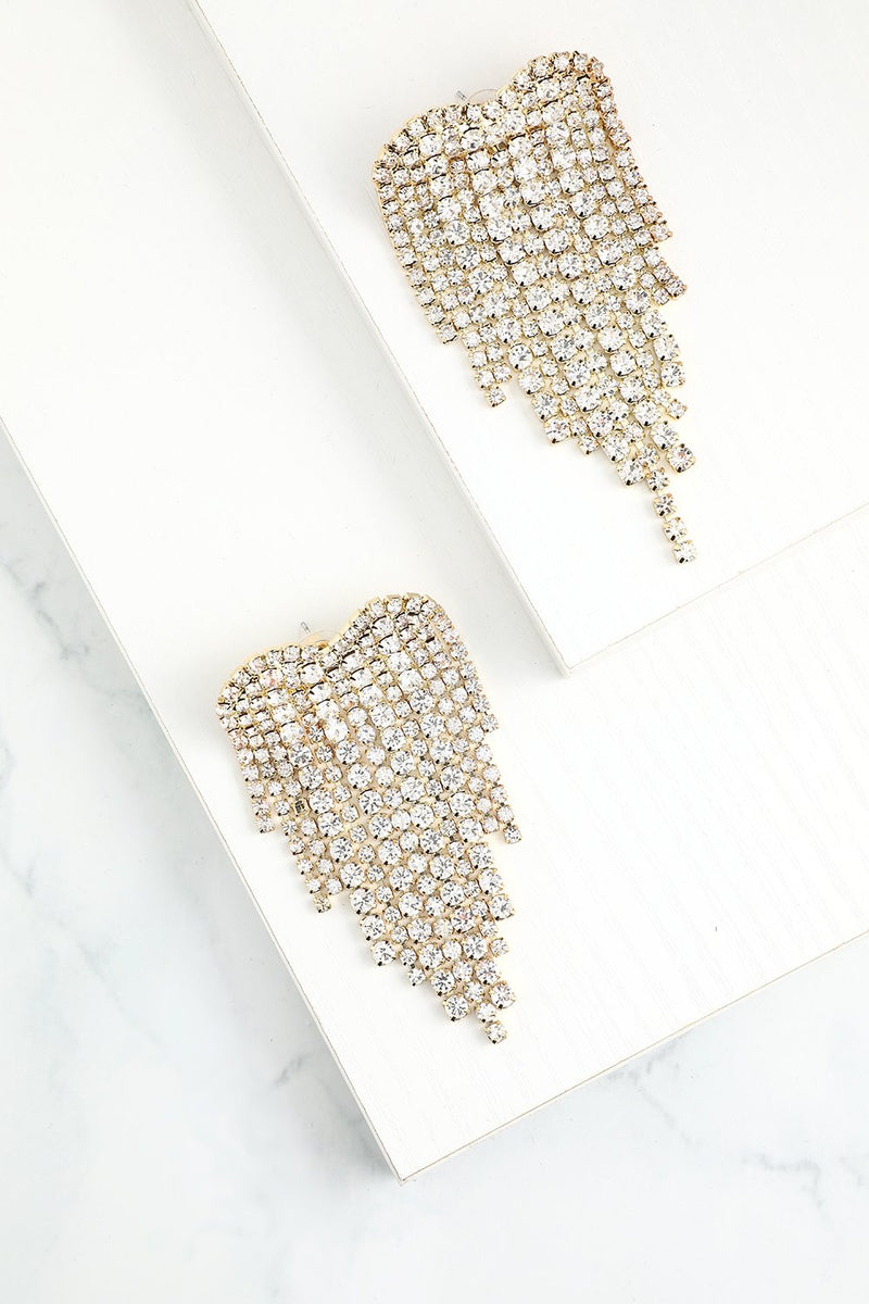 Load image into Gallery viewer, Gold Crystal Drop Earrings