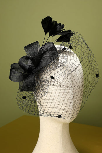 Black 1920s Feather Headband