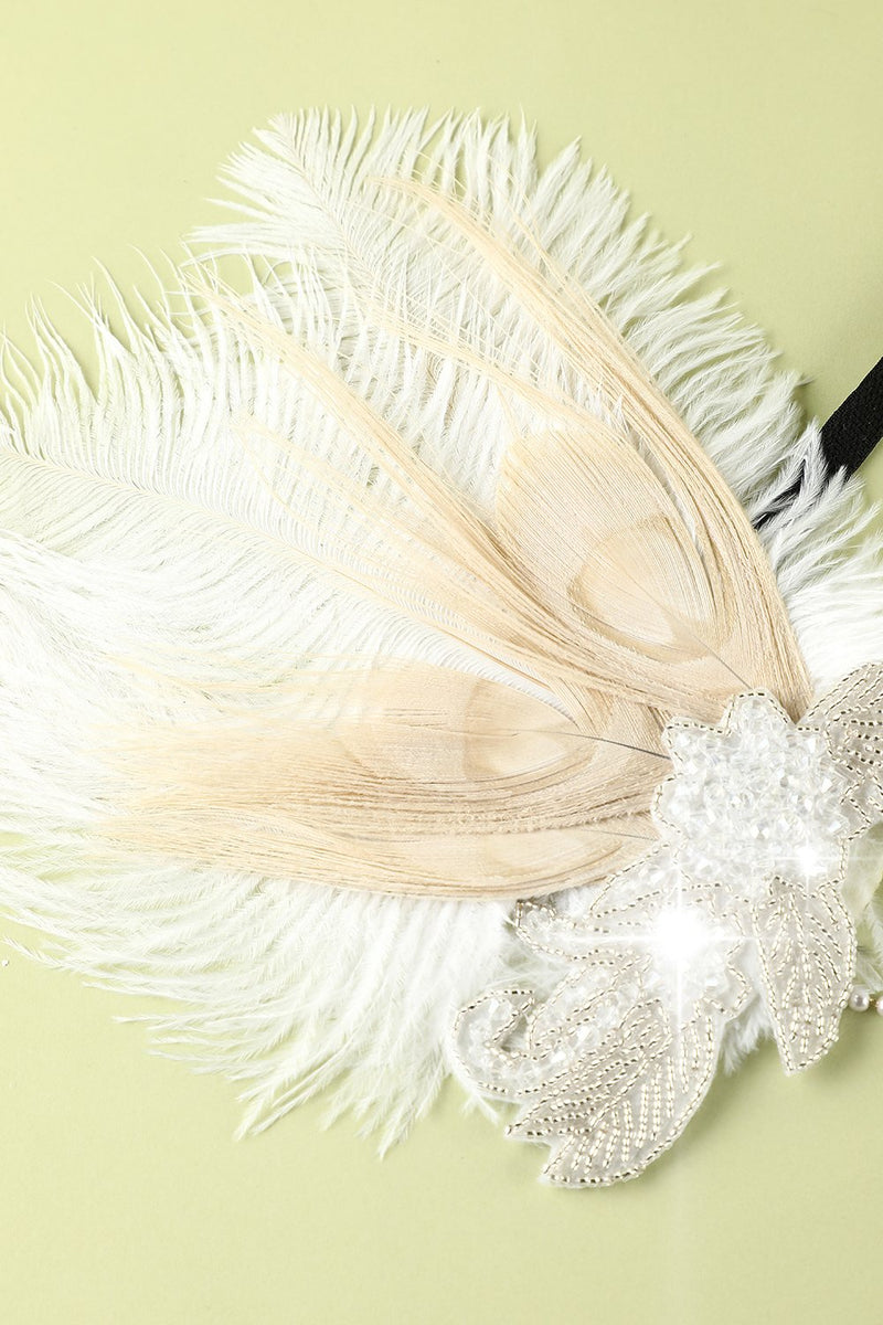 Load image into Gallery viewer, 1920s Feather Sequin Pearls Flapper Headband