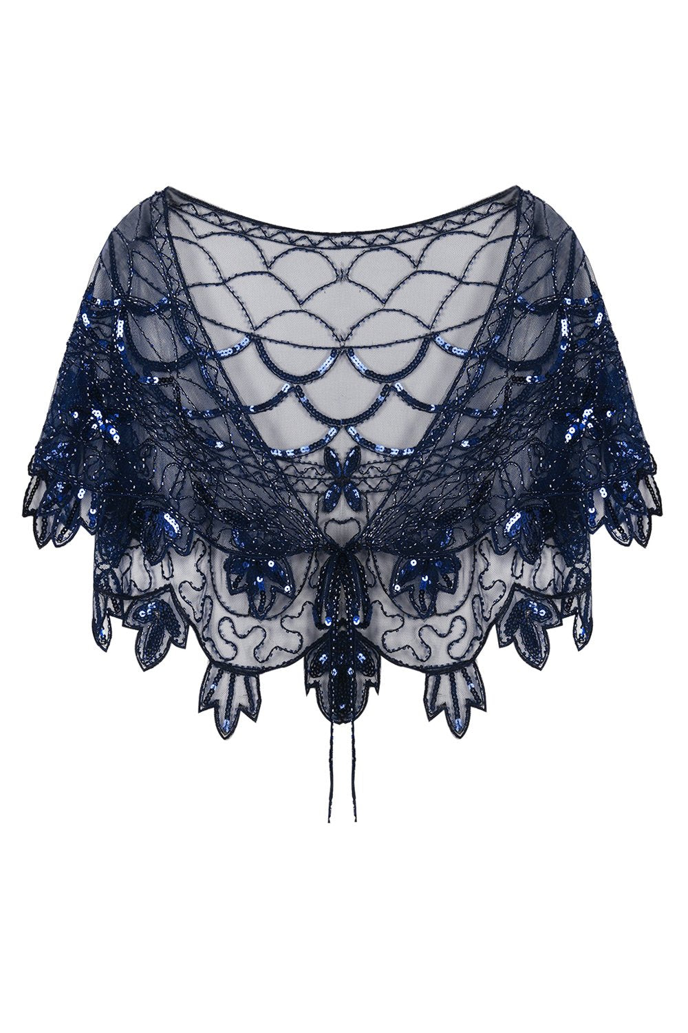 1920s Blue Flower Sequin Women Cape