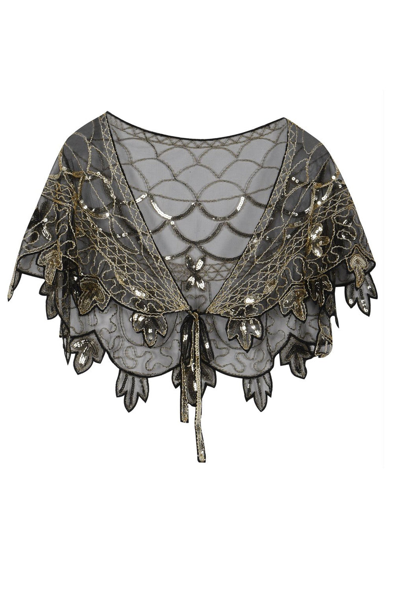 Load image into Gallery viewer, 1920s Gold Flower Sequin Women Cape