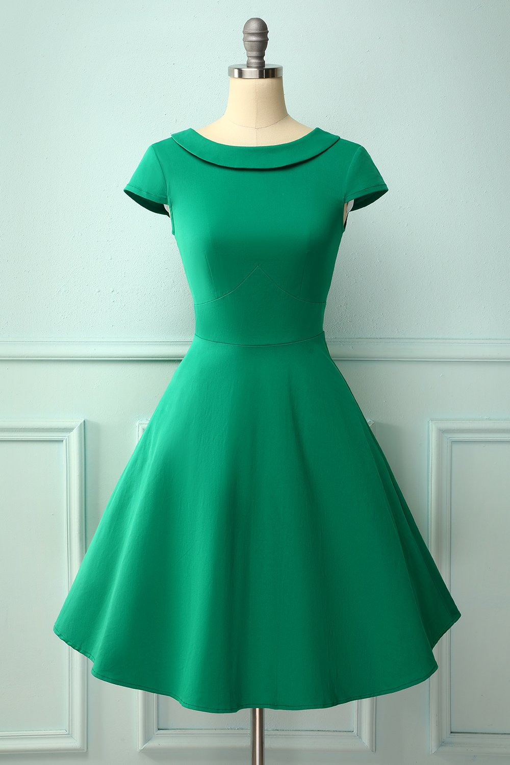 Green Boat Neck 50s Dress