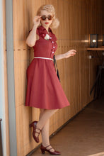 Load image into Gallery viewer, Burgundy 50s Dress