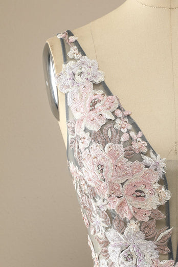 Gorgeous Deep V Neck Grey/Pink Formal Dress with Appliques
