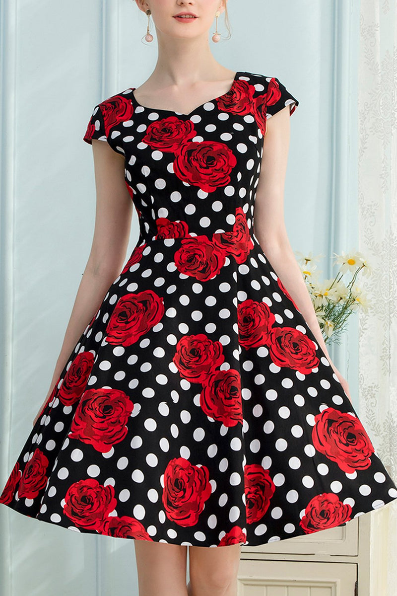 Load image into Gallery viewer, Rose Dots 1950s Dress