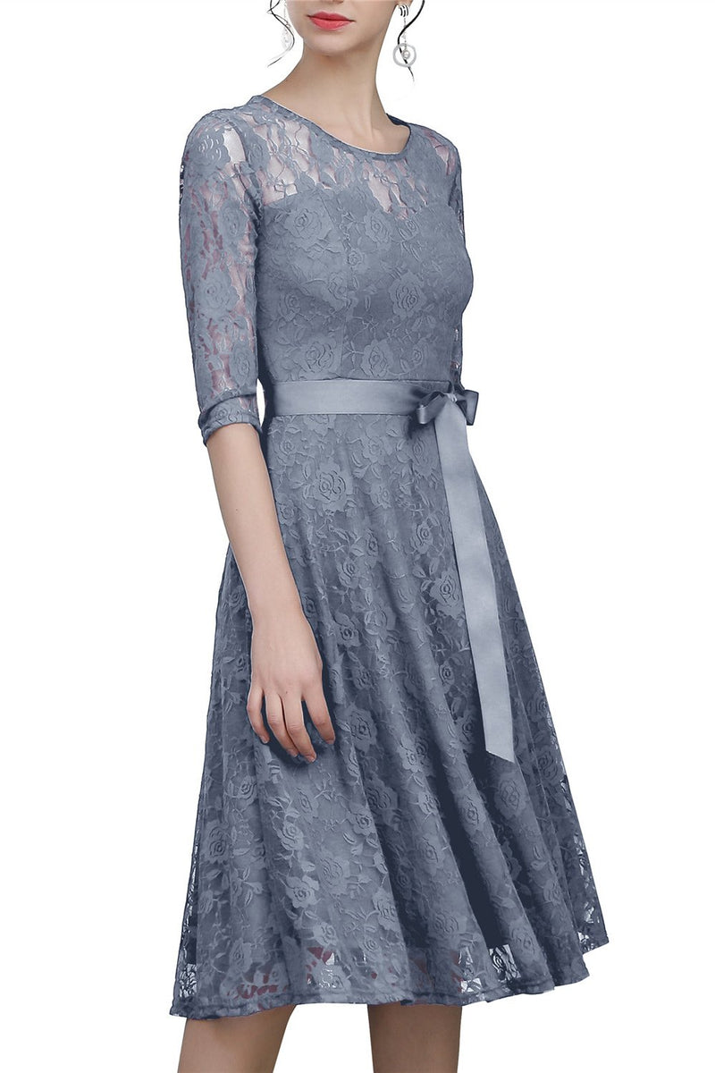 Load image into Gallery viewer, Grey Sash Lace Dress