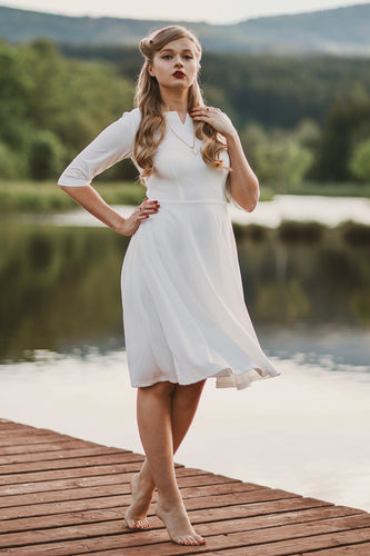 White Crepe Formal Dress