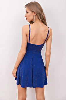 Glitter Royal Blue Short Cocktail Dress