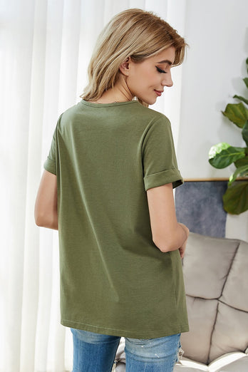 Army Green Round Neck Top