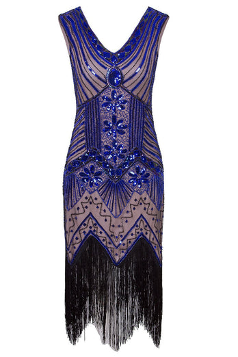 1920s Vintage Royal Blue Sequins Flapper Dress