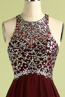 Burgundy Sequins Long Prom Dress