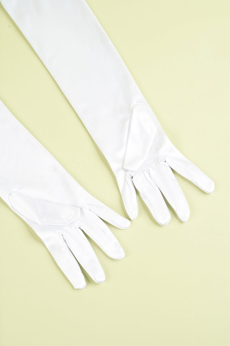 Load image into Gallery viewer, White 1920s Party Gloves