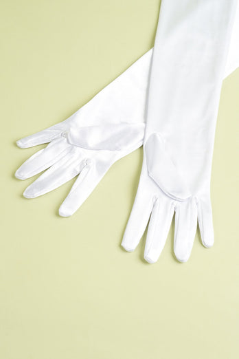 White 1920s Party Gloves