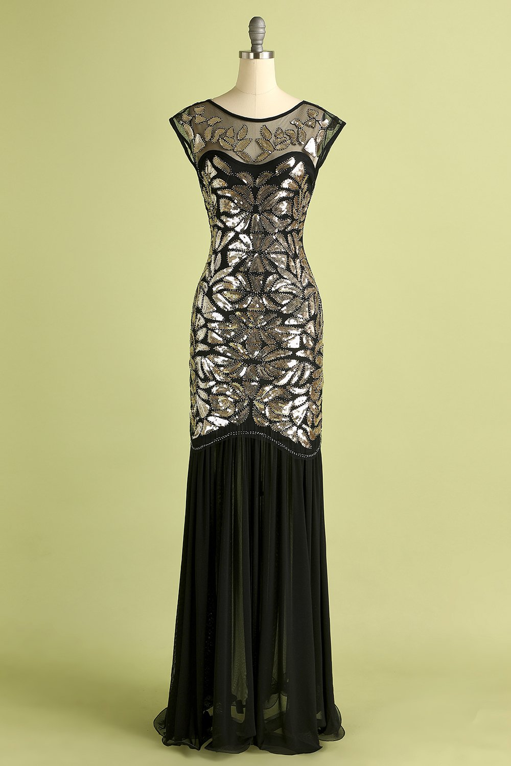 Black Gold Mermaid Flapper Dress