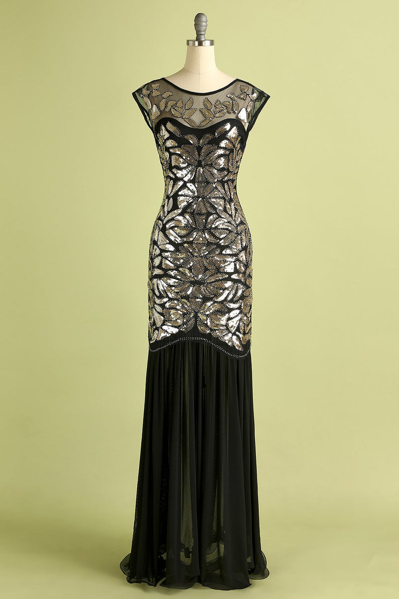 Load image into Gallery viewer, Black Gold Mermaid Flapper Dress