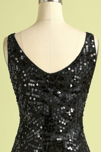Black Sequined Flapper Dress