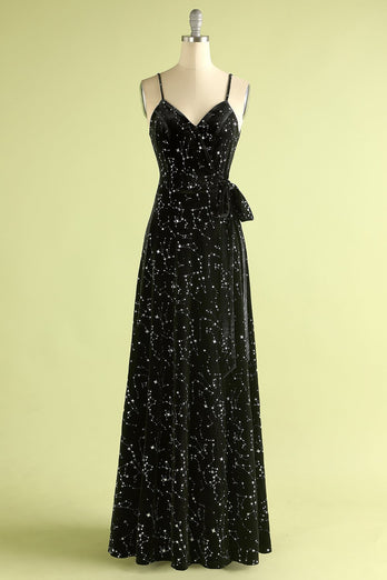 Black Star Printed Wrap Prom Dress