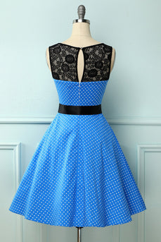 Blue 1950s Polka Dots Dress with Lace