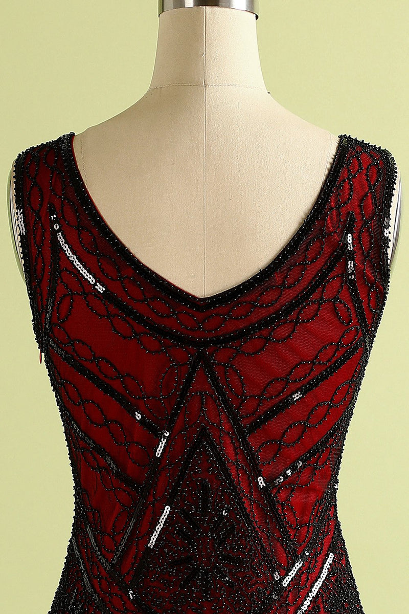 Load image into Gallery viewer, Red and Black Deep V Neck Flapper 1920s Dress