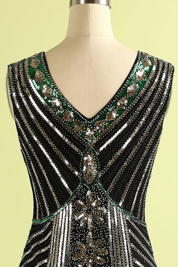 Black Glitter Fringe 1920s Flapper Dress