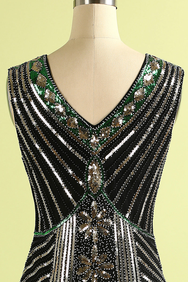 Load image into Gallery viewer, Black Glitter Fringe 1920s Flapper Dress