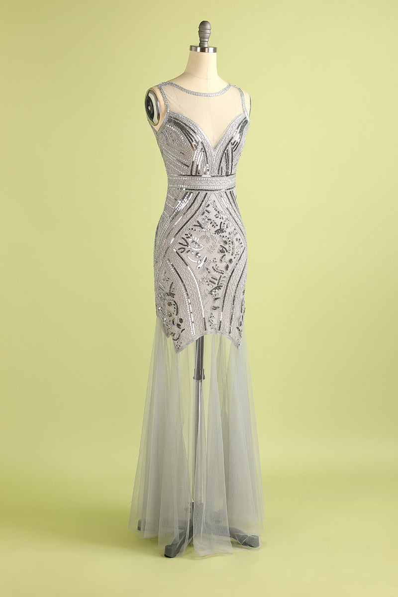 Load image into Gallery viewer, Silver Sequin Long Tulle 1920s Dress