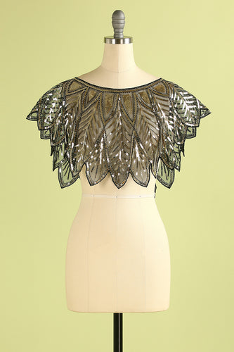 Black and Gold Sequin Glitter 1920s Cape